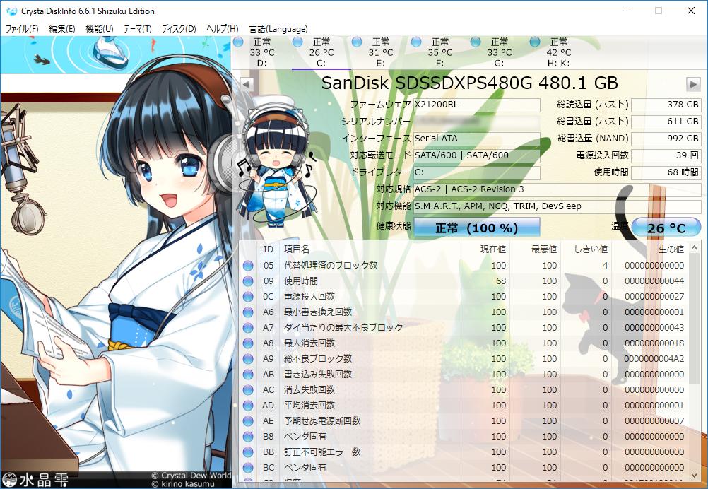 CrystalDiskInfo Sandisk SDSSDXPS480G